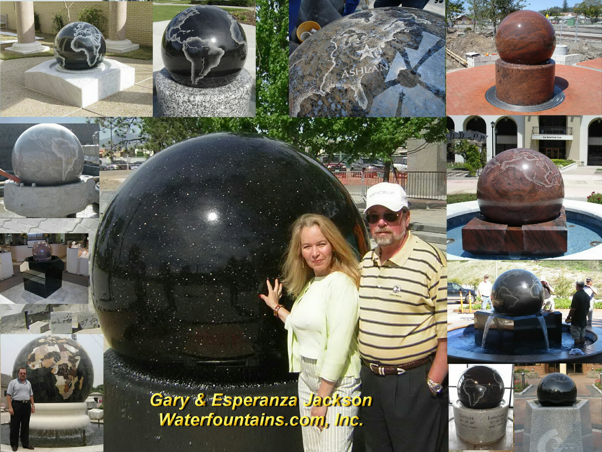 GRANITE SPHERE BALL WATER FOUNTAIN - 054