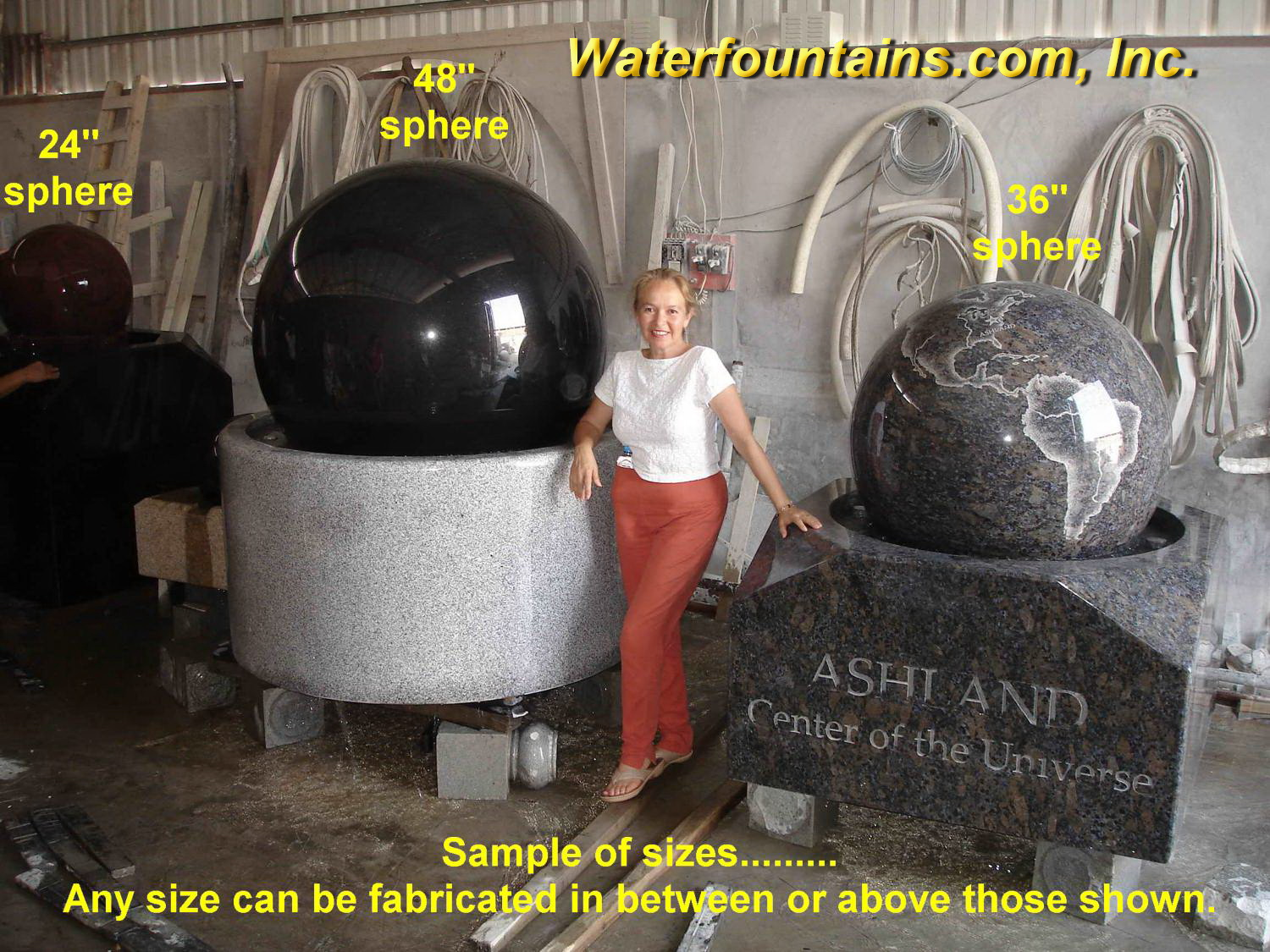 GRANITE SPHERE BALL WATER FOUNTAIN - 058