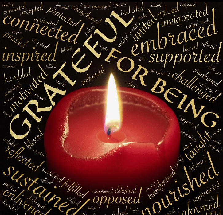 Image of candle with words associated with gratitude