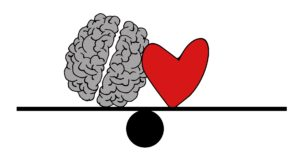 Brain and heart on seesaw each level