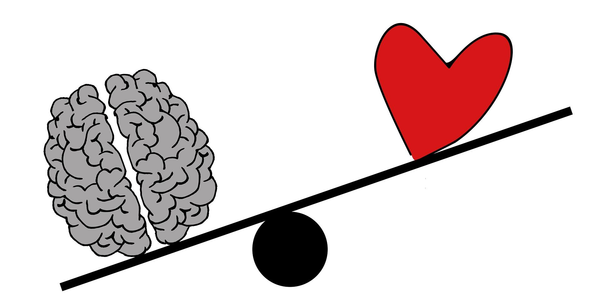 Brain and heart on a seesaw, Brain lower, heart higher