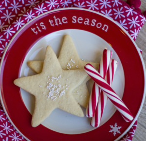 Plate of sugar cookies in the shape of stars and candy canes