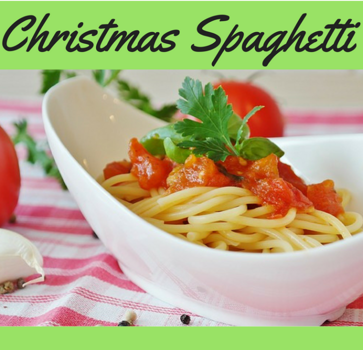 bowl of spaghetti with Christmas Spaghetti written above it