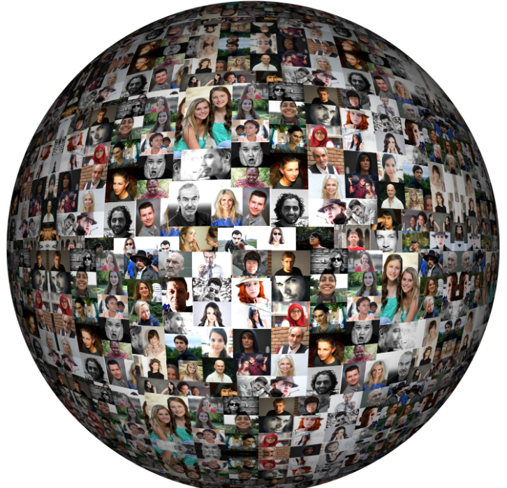 globe shape filled with photos of people