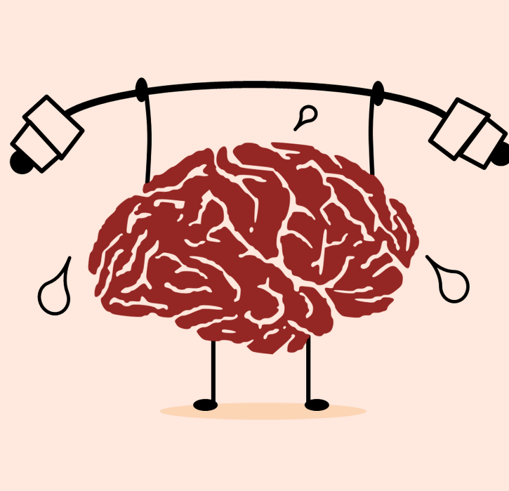drawing of a brain lifting a barbell and sweating