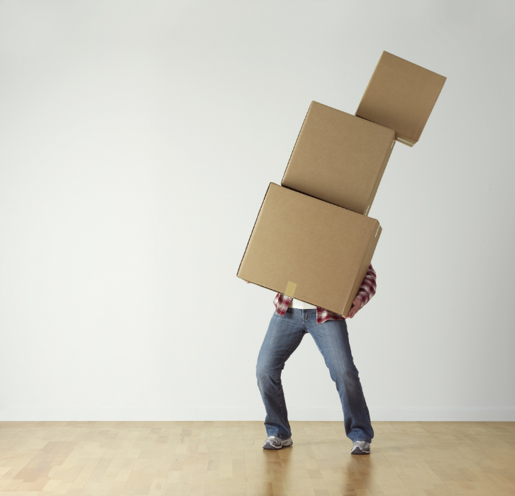 A man with moving boxes