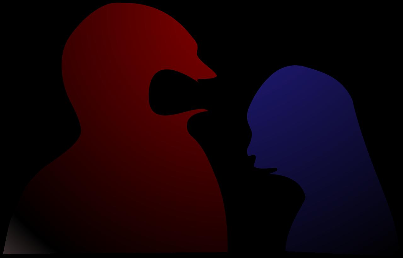 Cartoon - Red man yelling at blue woman