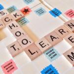 Scrabble board spelling school and learn
