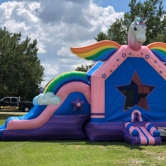 Unicorn Bounce House and Slide