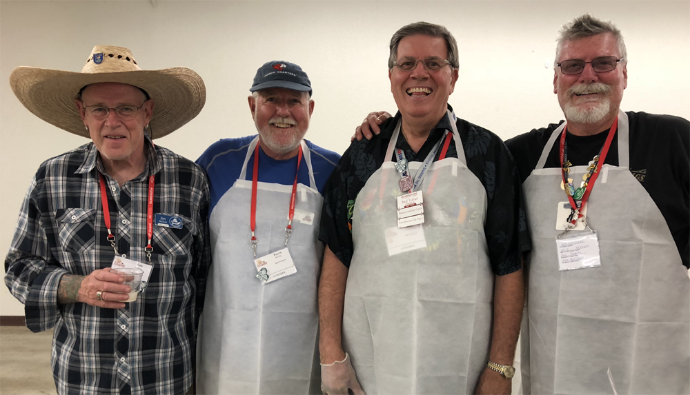 Jim McEver, Terry McClay, Beal Trahan, and Tony Sparks - some of our hard working and happy volunteers. All ready to serve tacos and fixings to our Social guests.
