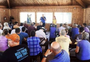 Ed and Kassandra Dennis discuss the 2018 Wine to Whales caravan with attendees at Potrero County Park. Photo by Joseph M. de Leon