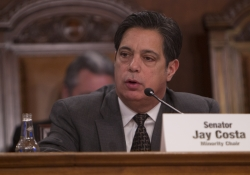Senate Democratic Leader Jay Costa, D-Allegheny, questions Pennsylvania emergency management officials about the state's response to Snow Storm Jonas during a special joint hearing of the Transportation and Veterans Affairs and Emergency Preparedness Committee in Harrisburg, Tuesday, Feb. 16, 2016.