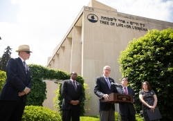 May 9, 2019: Senator Jay Costa joins fellow members of the Pennsylvania House and Senate outside the Tree of Life Synagogue in the Squirrel Hill neighborhood of Pittsburgh to announce plans for legislation that will address hate crimes.