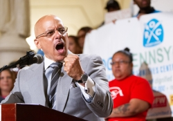 """June 4, 2019: Senator Jay Costa participates in rally led by the Pennsylvania Budget and Policy Center, advocates for a """"budget that puts people first""""  to call for a minimum wage increase and other fiscal priorities that benefit working families."""