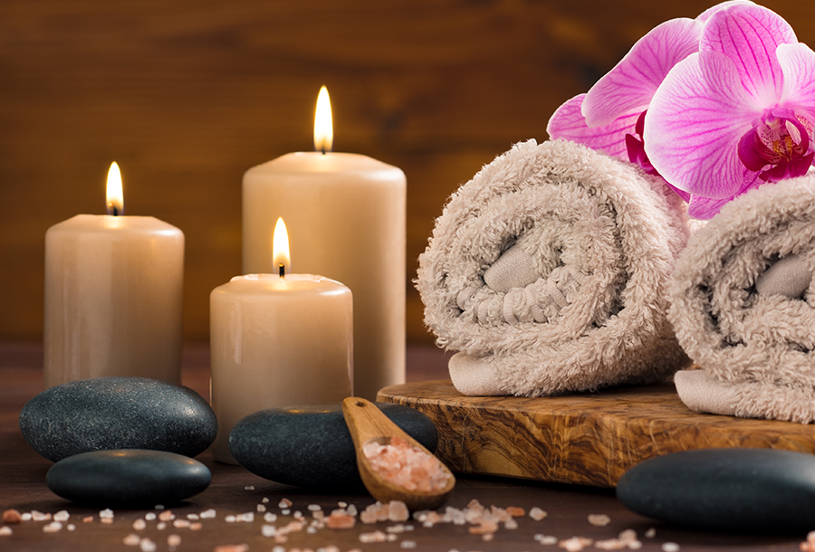 Tranquil Setting and Candles at Sanctuary Spa Houston