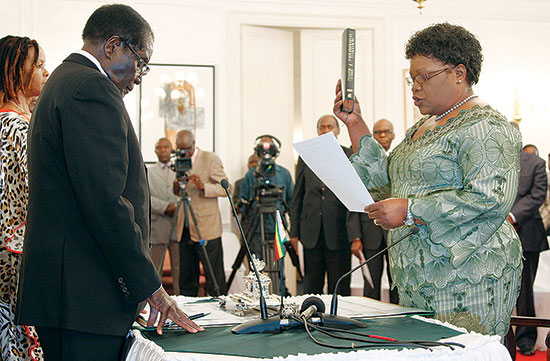Joyce Mujuru swearing in as Vice President