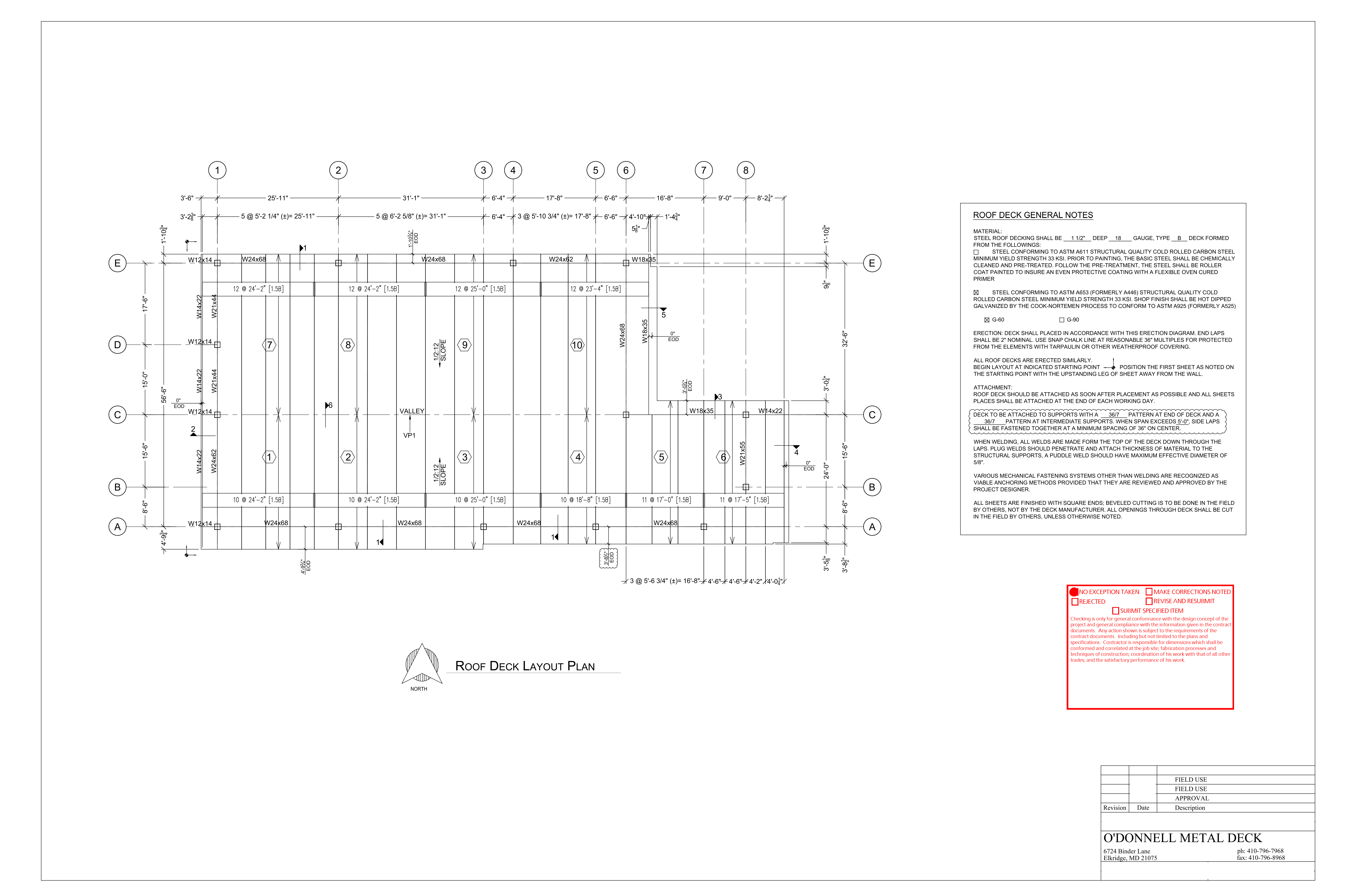 Example Metal Deck Shop Drawing