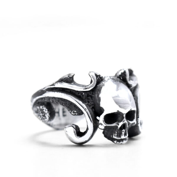 Ether11 Sterling Silver Skull Ring with Scroll Shank