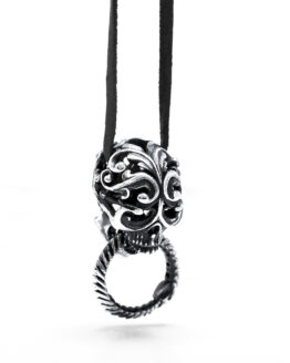 Ether11 Silver Filigree Skull with Ouroboros Pendant
