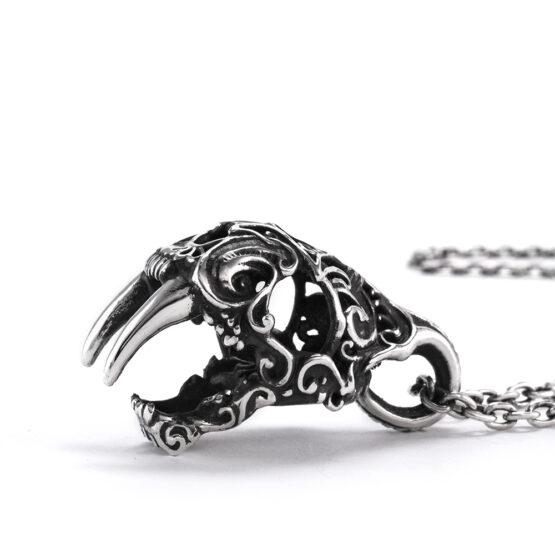 Ether11 Silver Art Nouveau Sabertooth Skull Pendant