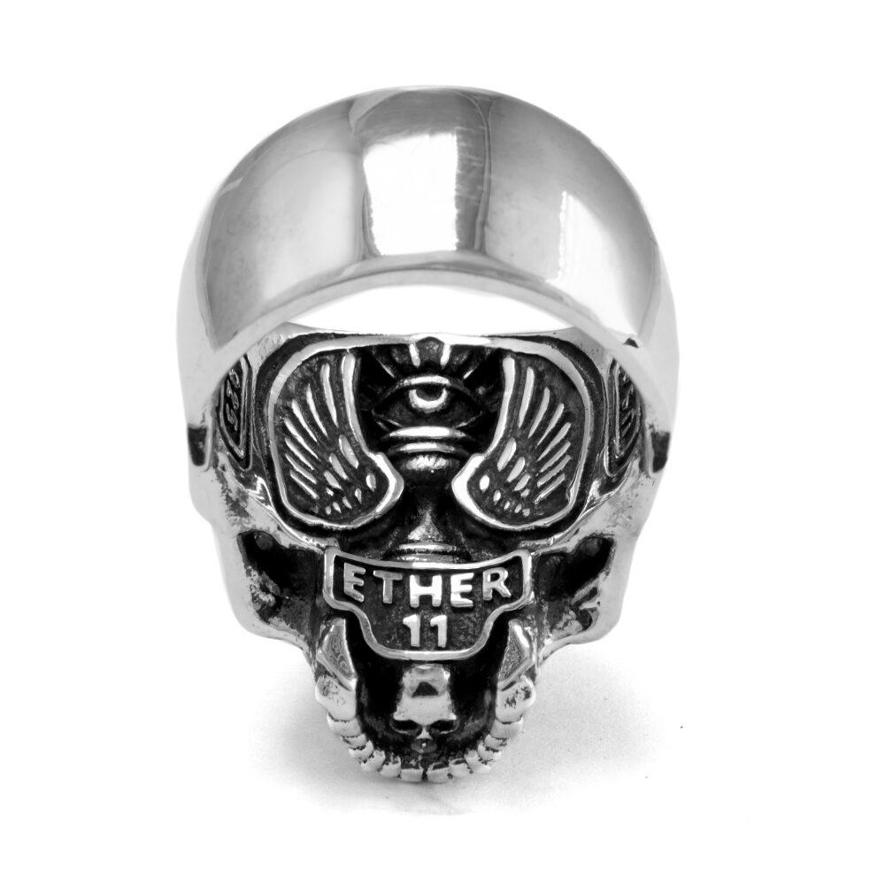 Ether11 Sterling Silver Half Skull Ring