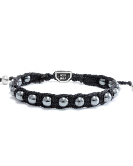 Ether11 Hematite Beaded Macrame Bracelet