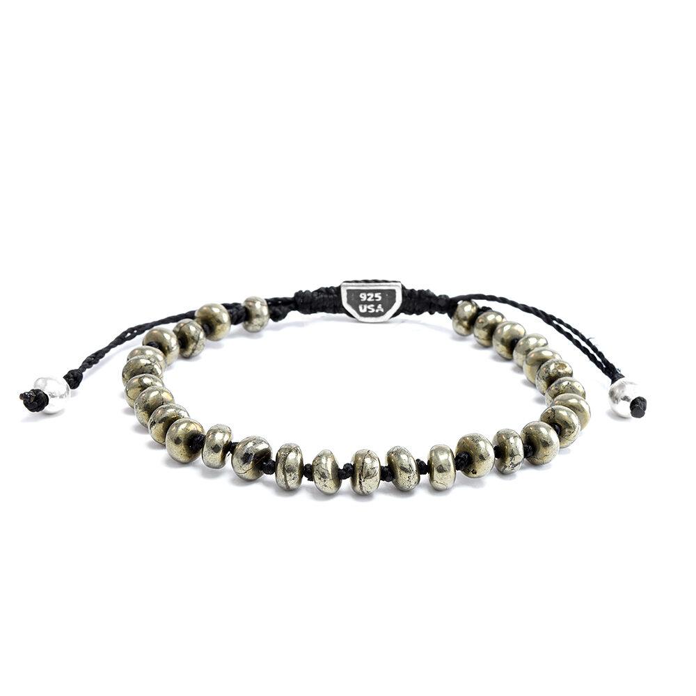 Ether11 Pyrite Bead Macrame Bracelet
