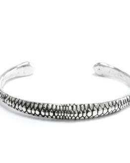 Ether11 Silver Snake Skin Cuff Bracelet