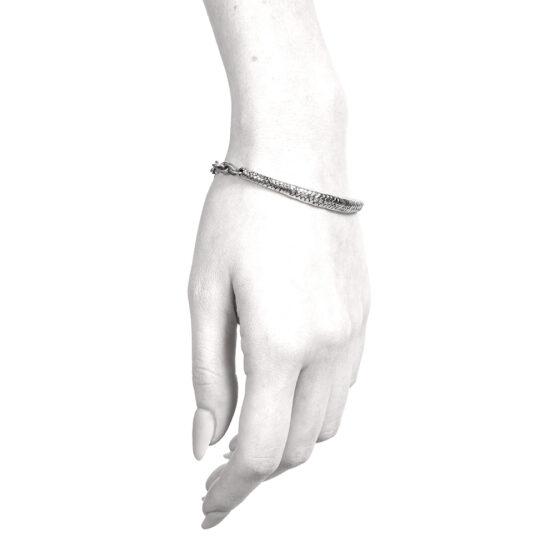 Ether11 Snake Skin Bridge Sterling Silver Bracelet