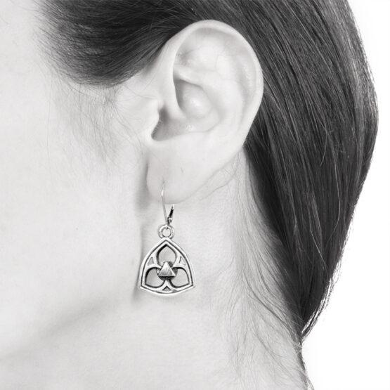 Ether11 Sterling Silver Gothic Trefoil Earrings