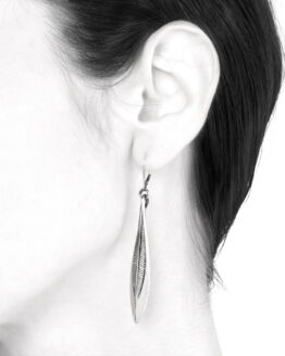 Ether11 Sterling Silver Streamline Feather Lever Back Earrings