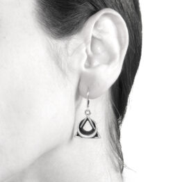 Ether11 Sterling Silver Trinity Moon Pyramid Earrings