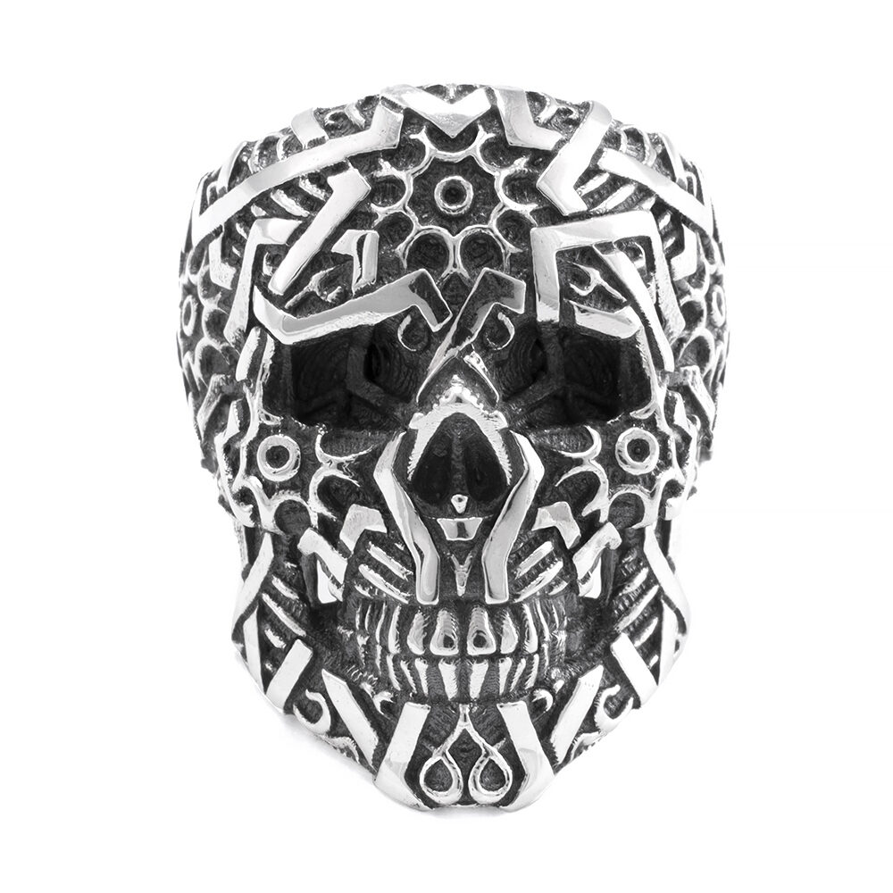 Ether11 Sultan Skull Sacred Geometry Sterling Silver Ring