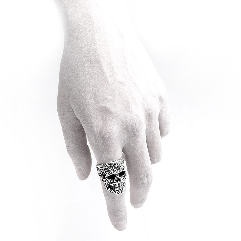 Ether11 Silver Sultan Skull Ring Geometric Patterns