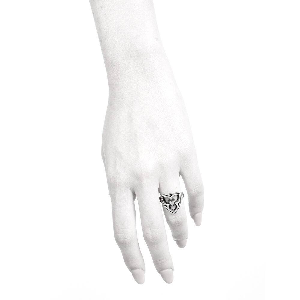 Ether11 Gothic Trefoil Silver Ring