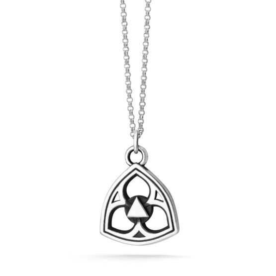 Sterling Silver Ether Eleven Trefoil Pendant on a Micro Rolo Chain Necklac