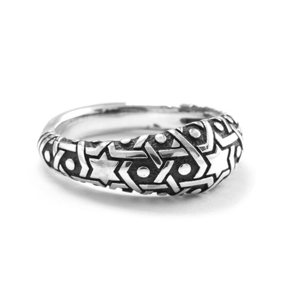 Ether Eleven Thin Sultan Sacred Geometry Pattern Ring in Sterling Silver
