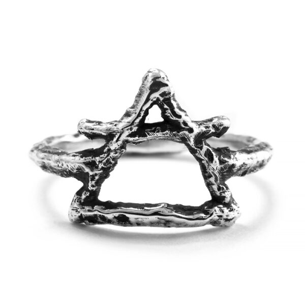 Ether Eleven Sterling Silver Air Symbol Alchemy Textured Ring