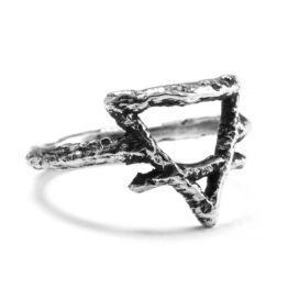 Ether Eleven Sterling Silver Earth Symbol Alchemy Textured Ring
