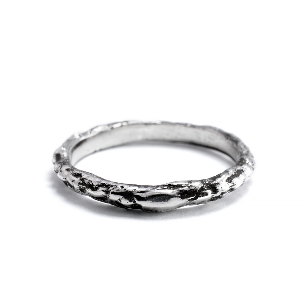 Ether Eleven Sterling Silver Organic Textured Thin Alchemy Band