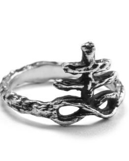 Ether Eleven Sterling Silver Sulfur Symbol Alchemy Textured Ring