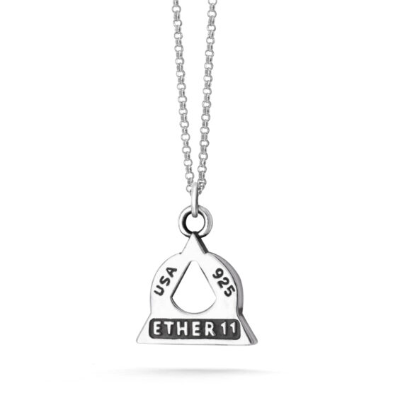 Ether11 Sterling Silver Trinity Moon Pyramid Pendant