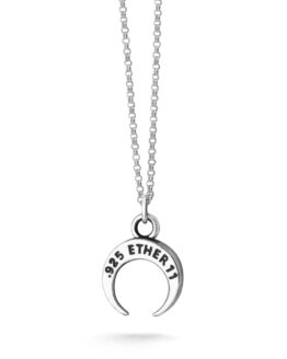 Ether11 Sterling Silver Crescent Moon Pendant on Micro Rolo Chain