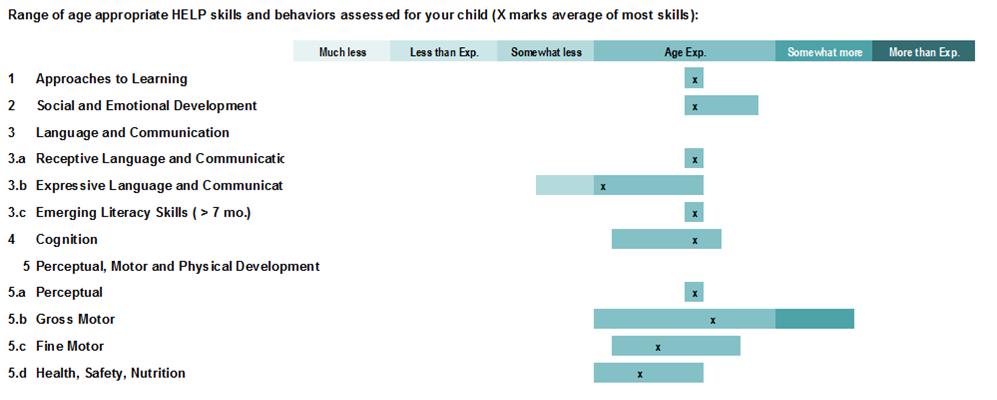 Individual Child Assessment - Range Bars