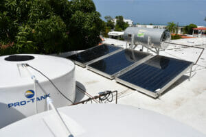 Eco-Friendly hotel with solar panels for hot water