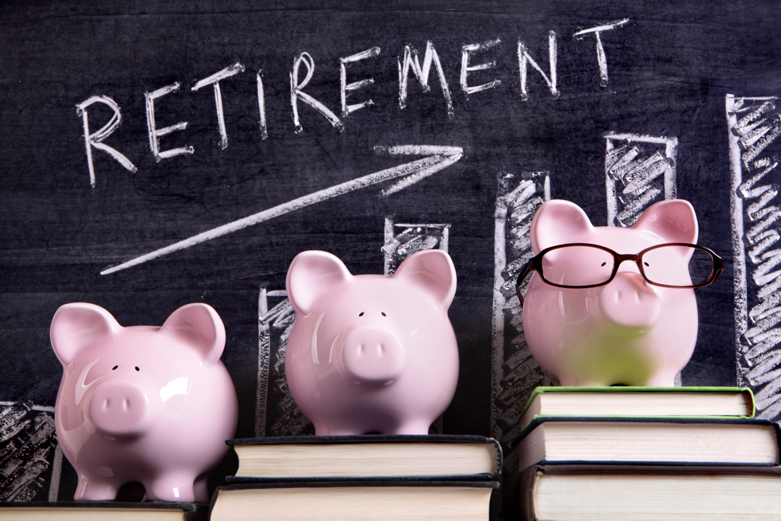 teacher pension enough for retirement - Piggy Banks with retirement savings chart