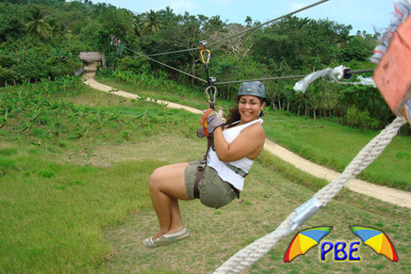 girl on zip line