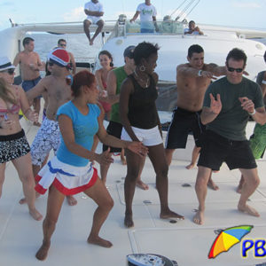 peopledancingon catamaran