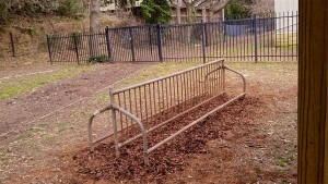 The repurposed bike rack at its new location at Inman Middle School. Photo courtesy of Jack White.