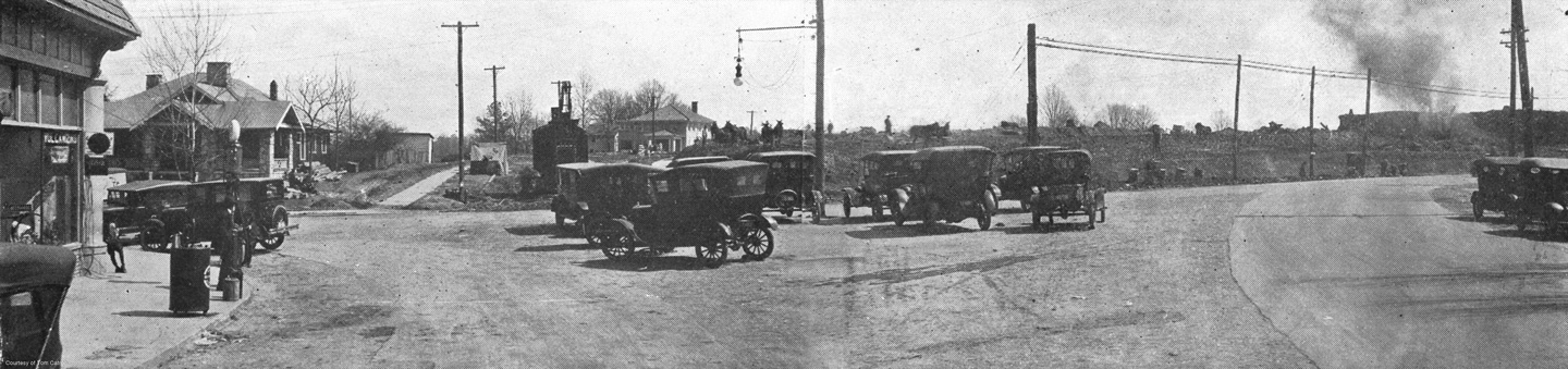 """6"""" x 24"""" art print of the Virginia/N. Highland intersection looking west. The land is being cleared by oxen for the development of the Virginia Highlands subdivision established by Ben R. Padgett, Jr. of L.W. Rogers Realty. Circa 1923. Courtesy of Tom Catron. ($40 ea.)"""